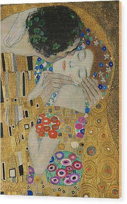 The Kiss Detail Wood Print by Gustav Klimt