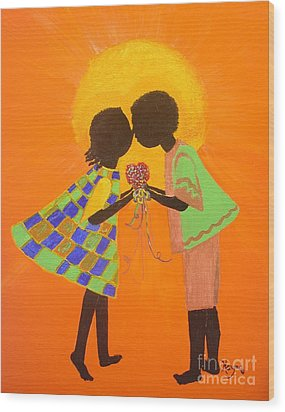 The Kiss - Young Love Series Wood Print by Barbara Hayes