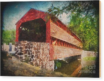 The Kissing Bridge Wood Print by Lois Bryan