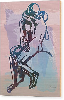 The Kissing - Rodin Stylized Pop Art Poster Wood Print by Kim Wang