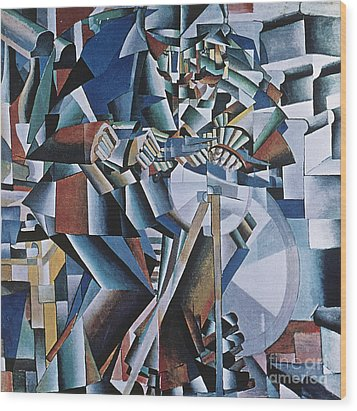 The Knife Grinder Wood Print by Kazimir  Malevich
