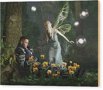 The Knight And The Faerie Wood Print by Daniel Eskridge