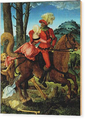 The Knight Young Girl And Death Wood Print by Hans Baldung