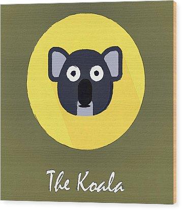 The Koala Cute Portrait Wood Print by Florian Rodarte