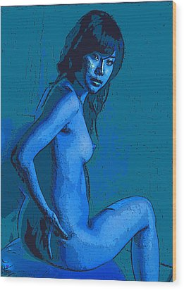 The Lady In Blue Wood Print by Tim Ernst