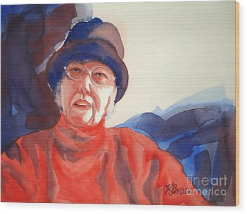 The Lady In Red Wood Print by Kathy Braud
