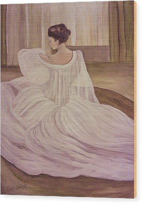 The Lady In White Wood Print by Christy Saunders Church
