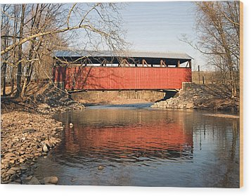 The Lairdsville Covered Bridge After The Flood Wood Print by Gene Walls