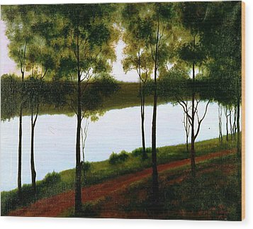 Wood Print featuring the painting The Lake After Sunset  by Laila Awad Jamaleldin