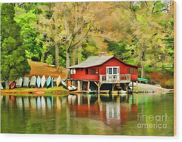 The Lake House Wood Print by Darren Fisher