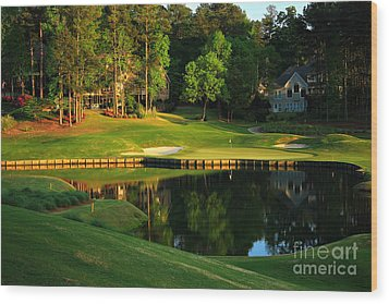 Golf At The Landing #3 In Reynolds Plantation On Lake Oconee Ga Wood Print by Reid Callaway