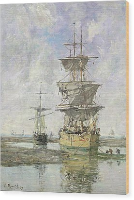 The Large Ship Wood Print by Eugene Louis Boudin