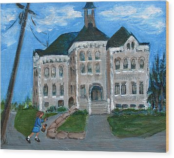The Last Bell At West Hill School Wood Print by Betty Pieper