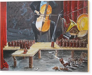 The Last Concert Listen With Music Of The Description Box Wood Print by Lazaro Hurtado