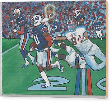 The Last Grasp Alabama Auburn Iron Bowl 2013 Add Nostalgia  Wood Print by Ricardo Of Charleston
