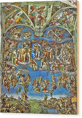 The Last Judgement Wood Print by Michelangelo