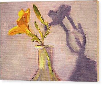 The Last Lily Wood Print by Nancy Merkle