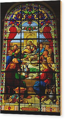 Wood Print featuring the photograph The Last Supper In Stained Glass by John S