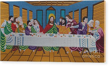 The Last Supper Hand Embroidery Wood Print by To-Tam Gerwe