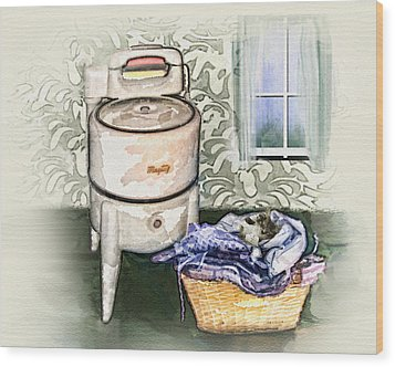 Wood Print featuring the digital art The Laundry Room by Mary Almond