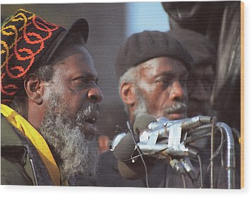 The Leaders Of A Local Antyracist Movement While Performing Their Speach During Toronto Riots 1992 Wood Print by T Monticello