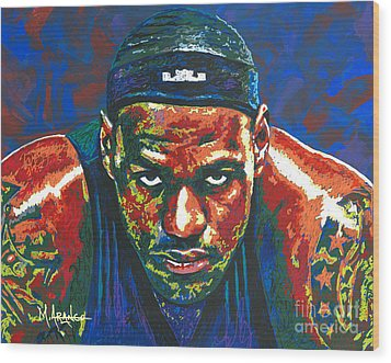The Lebron Death Stare Wood Print by Maria Arango