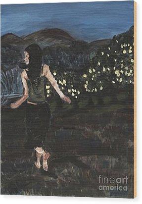 Wood Print featuring the painting The Lemon Tree Field by Helena Bebirian
