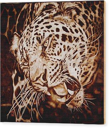 The Leopard's Hello Wood Print by Cynthia Adams