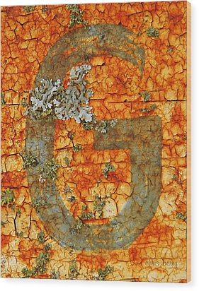 The Letter G With Lichens Wood Print by Chris Berry