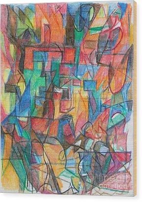 The Letter Tav 2 Wood Print by David Baruch Wolk