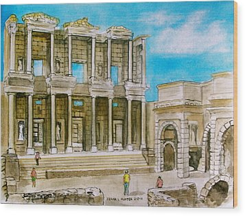 The Library At Ephesus Turkey Wood Print by Frank Hunter