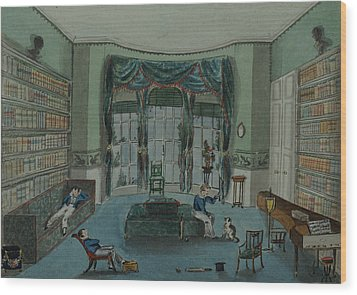 The Library, C.1820, Battersea Rise Wood Print by English School
