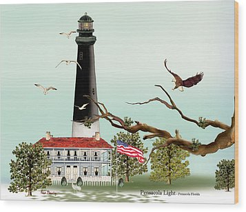 The Light House At Pensacola Wood Print