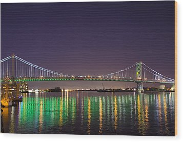 The Lighted Ben Franklin Bridge Wood Print by Bill Cannon