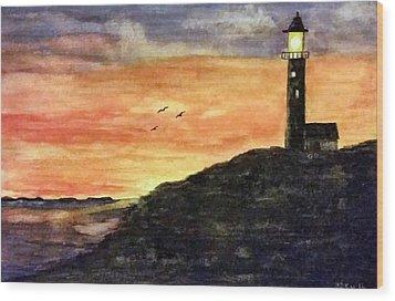 The Lighthouse At Dusk Wood Print