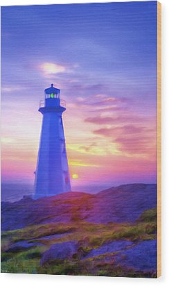 The Lighthouse At Sunset Wood Print by Tyler Robbins