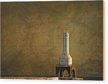 The Lighthouse - Port Washington Wood Print by Mary Machare