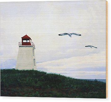 Wood Print featuring the painting The Lighthouse by Ron Haist