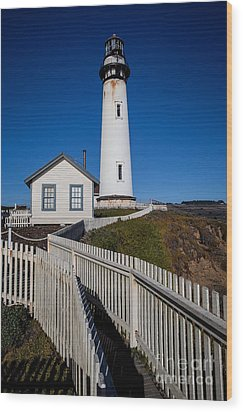 the Lighthouse Wood Print by Steven Reed