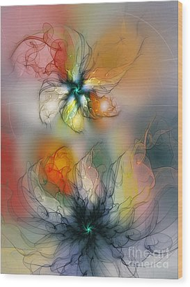 The Lightness Of Being-abstract Art Wood Print by Karin Kuhlmann