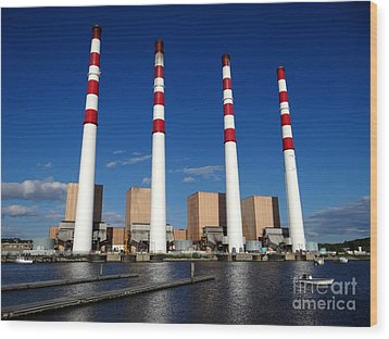 Wood Print featuring the photograph The Lilco Towers by Ed Weidman