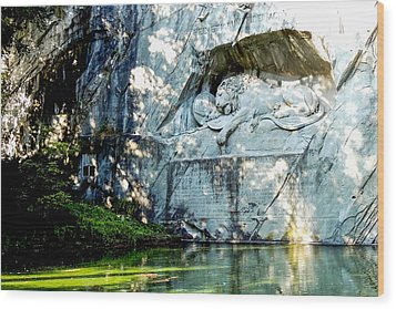 The Lion Monument In Lucerne Switzerland Wood Print