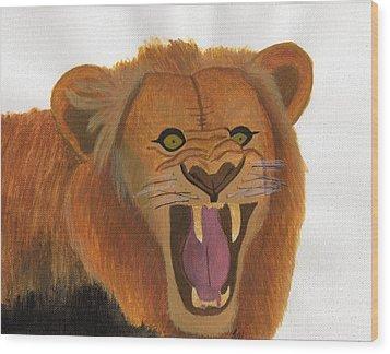 The Lion's Roar Wood Print by Bav Patel