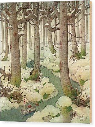 The Little Boat 01 Wood Print by Kestutis Kasparavicius