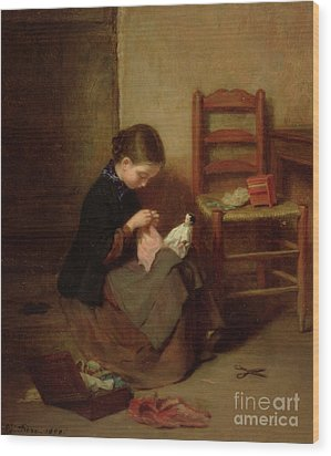 The Little Dressmaker Wood Print by Pierre Edouard Frere