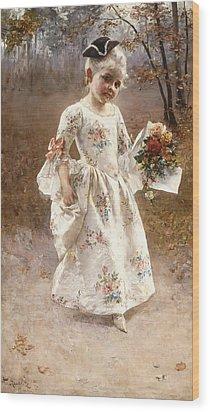 The Little Flower Girl  Wood Print by Albert Raudnitz