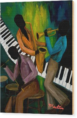 The Little Jazz Trio II Wood Print by Larry Martin