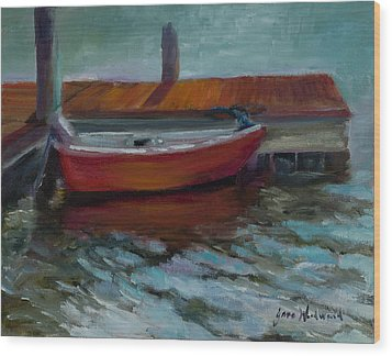 The Little Red Boat Wood Print by Jane Woodward