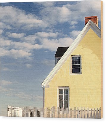 The Little Yellow House At The Seawall Wood Print