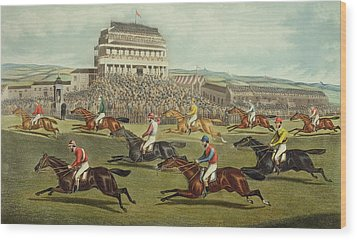 The Liverpool Grand National Steeplechase Coming In Wood Print by Charles Hunt and Son